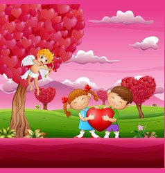 a couples holding red heart shape in the pink gard vector image