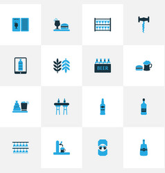 alcohol icons colored set with tap bar menu vector image