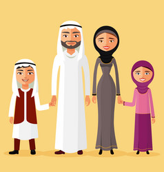 arab family together in a beautiful dress vector image
