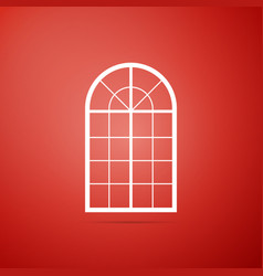 arched window icon isolated on red background vector image