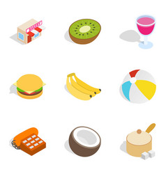 Bake shop icons set isometric style vector