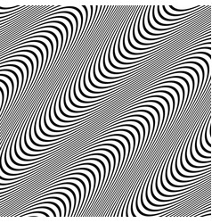Black and white pattern with wavy lines vector