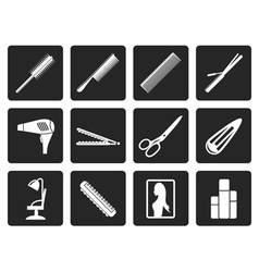 Black hairdressing coiffure and make-up icons vector