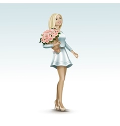 Blonde Woman Girl in Dress with Flowers vector