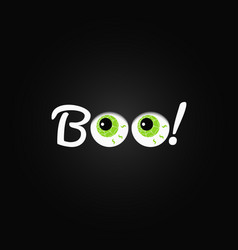 Boo halloween lettering with eyes design vector