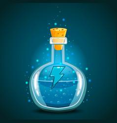 Bottle of magic elixir with energy symbol vector