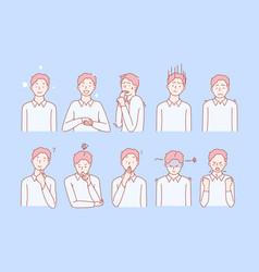 Boys emotions and facial expresions set vector