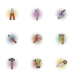 Building tools icons set pop-art style vector