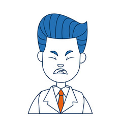 Businessman character face male angry vector