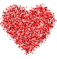 card with shimmer little red hearts vector image