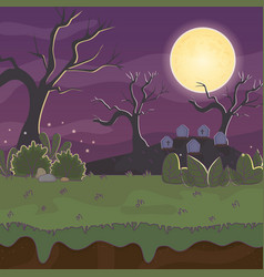 Cemetery tombstones night moon trick or treat vector