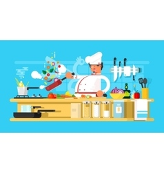 Chef prepares in kitchen vector image