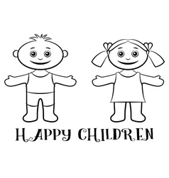 Children boy and girl contours vector
