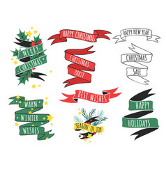 christmas ribbons quote hand drawn tape vector image