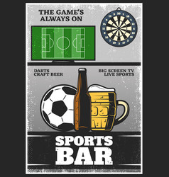 colorful vintage sport bar poster vector image vector image
