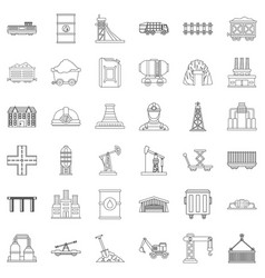 Constraction icons set outline style vector