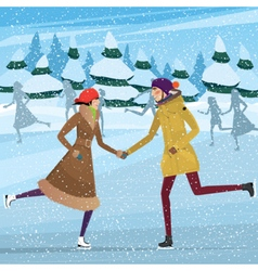 Couple on public ice rink vector