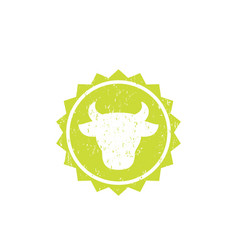 cow head cattle farm logo badge vector image