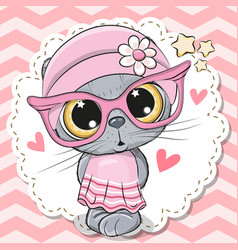 cute cat girl in pink eyeglasses vector image