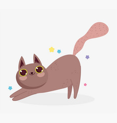 cute cat happy domestic cartoon animal cats pets vector image