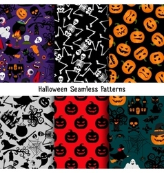 Different halloween pattern set vector image
