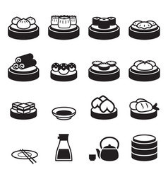 Dim sum japanese food icons vector