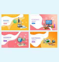 Economics and geography school subjects lessons vector