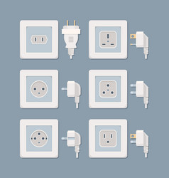electric plug electricity collection american and vector image
