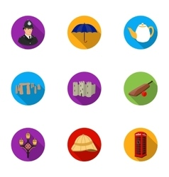 England country set icons in flat style Big vector