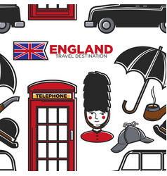 England travel destination seamless pattern vector