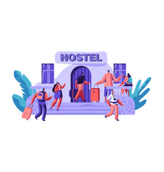 exterior hostel for tourist arrival of character vector image