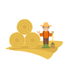 farmer with pitchfork and haystack vector image