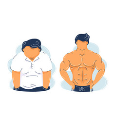 fat obesity and strong fitness muscular man vector image