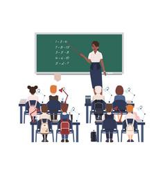 Female math teacher explaining summation vector