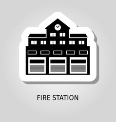 Fire station black building sticker vector