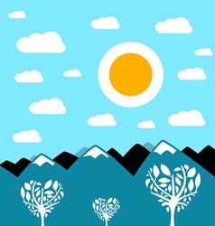 Flat Design Mountain Landscape vector image vector image