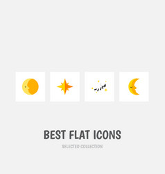 Flat icon bedtime set of lunar asterisk night vector