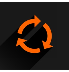 Flat orange arrow icon refresh rotation sign vector