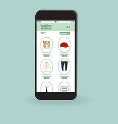 flat smartphone with app for shopping clothes vector image