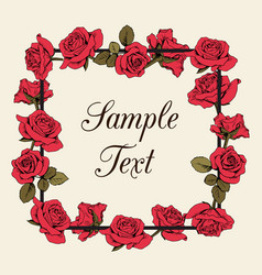floral red roses frame with sample text on beige vector image