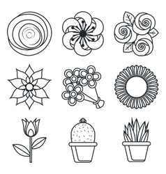 Flowers icons on white background vector image