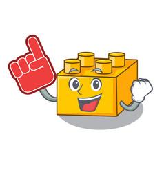 foam finger plastic building tyos shaped on mascot vector image