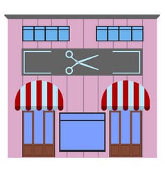 Front view of a hair salon vector