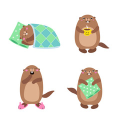 groundhog set1 flat vector image