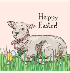 hand drawn easter gift card with lamb vector image