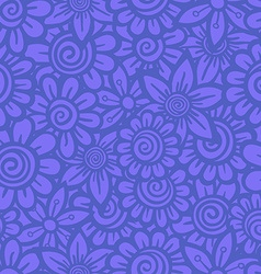 Hand drawn seamless Flower pattern Doodle style vector image