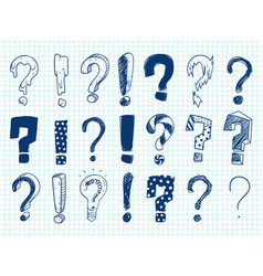 Hand drawn sketch exclamation and question marks vector