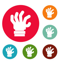 Hand fear icons circle set vector