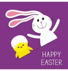 Happy Easter Bunny rabbit hare and chicken in the vector