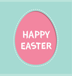 Happy easter text painted egg frame window vector
